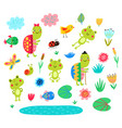 frogs and turtles vector image vector image