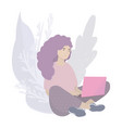 girl sitting on floor with laptop on her lap vector image vector image