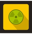 Green radioactive sign icon flat style vector image vector image