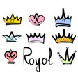 hand drawn crowns logo and icon collection vector image vector image