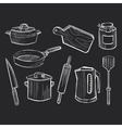 Hand drawn set of kitchen utensils on a chalkboard vector image vector image