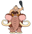 Happy Caveman on Mammoth Cartoon vector image