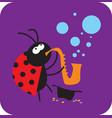 jazz beetle plays saxophone vector image vector image