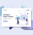 landing page template of 3d printing object magic vector image vector image