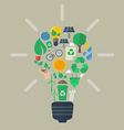 Light bulb with colorful eco icons vector image vector image