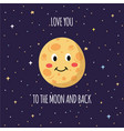 Love you to moon and back text and moon flat