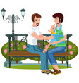 loving gay couple relaxing on bench in park vector image vector image