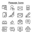 mail message newsletter icon set in thin line vector image vector image