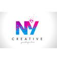 ny n y letter logo with shattered broken blue vector image vector image