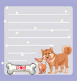 paper template with two dogs and bone vector image vector image