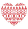 Pattern cross stitch heart shape vector image vector image