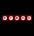 red white square music control buttons set vector image vector image