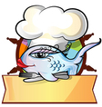 restaurant fish menu on rudder vector image