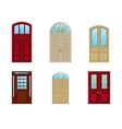 room door set icons interior entrance design vector image