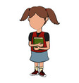 school girl cartoon vector image