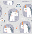 seamless pattern with cute fairy unicorns and vector image