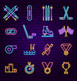 sports neon icons vector image vector image