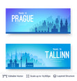 tallinn and prague famous city scapes vector image