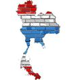 Thailand map on a brick wall vector image vector image