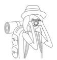tourist woman cartoon vector image