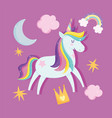 unicorn with rainbow hair tail moon clouds dream vector image vector image