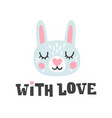 with love rabbit head and romantic hand drawn vector image vector image
