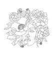 woman line drawing line art flower head vector image
