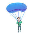 young boy with parachute icon cartoon style vector image vector image