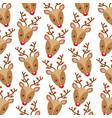 christmas reindeer head horned decoration pattern vector image