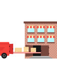 shipment ex warehouse on delivery vehicle vector image