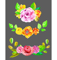 Watercolor flowers set vector image