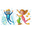 a boy and a girl swim under water vector image vector image