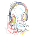 abstract head phones vector image vector image