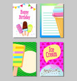 banner set of cute sweet ice cream cards vector image