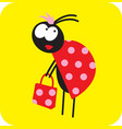 Beetle girl with a red shopping bag