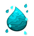 bright beautiful water drop cut from paper vector image