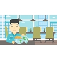 Businessman with Earth globe full of money vector image vector image