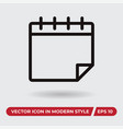 calendar icon in modern style for web site and vector image