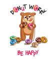cartoon bear with donuts vector image vector image
