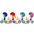 children riding bike with helmet on vector image vector image