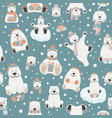 cute polar bear seamless pattern elements for vector image vector image