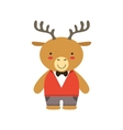 Deer In Red Vest And Bow Tie Cute Toy Baby Animal vector image vector image