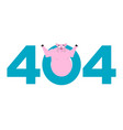 error 404 pig surprise page not found template vector image vector image