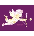 flowers outlined shooting cupid silhouette vector image