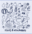 fruits and vegetables set of hand drawn elements vector image