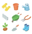 Gardening work tools icons set Nice equipment for vector image vector image