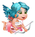 girl cupid in toga with blue wings and hair vector image