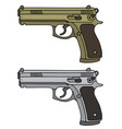golden and silver handguns vector image