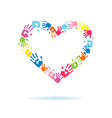 Heart of the handprints of parents and children vector image
