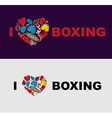 I love boxing Symbol of the heart of boxing gear vector image